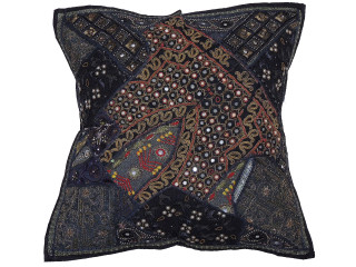 Black Sari Beaded Floor Pillow Cover - Decorative Indian Ethnic Euro Sham ~ 26 Inch