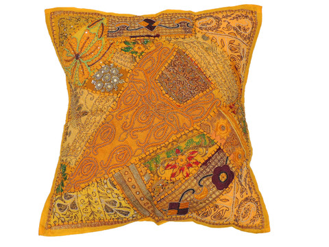 Yellow Decorative Tapestry Floor Pillow Cover - Square Indian Ethnic Euro Sham ~ 26 Inch