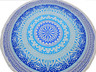 Blue Floral Pattern Tablecloth - Cotton Block Print Round Fringed Table Topper 70""
