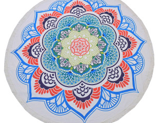 """Bohemian Floral Pattern Tablecloth - Cotton Block Print Round Fringed Table Topper 70"""""""