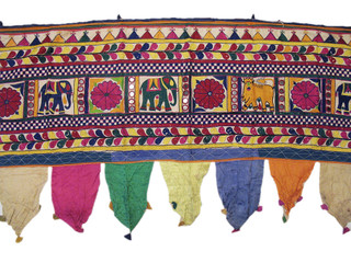 Rare Vintage Decorative Valance Kutch Designer Handmade Toran Window Door Topper