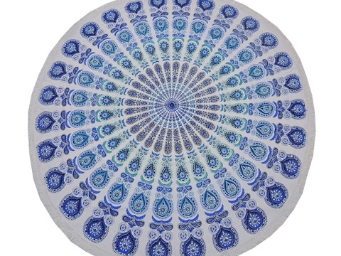 Blue Peacock Tail Fan Round Tablecloth - Cotton Print Fringed Table Topper 70""