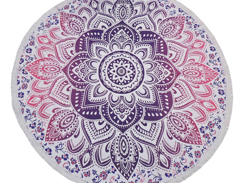 Purple Mulberry Floral Round Tablecloth - Cotton Print Fringed Table Topper 70""