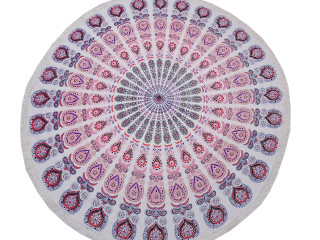 Pink Peacock Tail Fan Round Tablecloth - Cotton Print Fringed Table Topper 70""