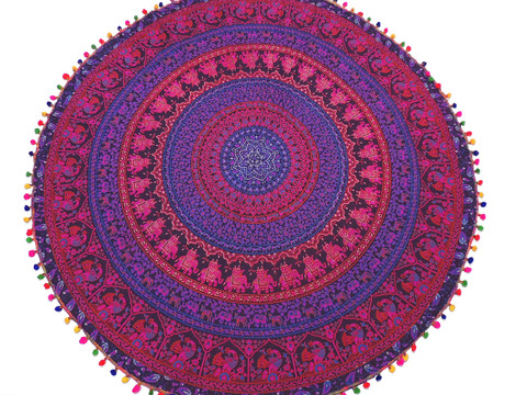 """Purple Magenta Elephant Peacock Round Tablecloth - Cotton Fringed Table Topper 70"""""""