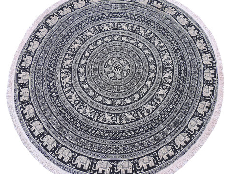 """Black Ethnic Elephant Floral Tablecloth - Cotton Block Print Round Fringed Table Topper 70"""""""