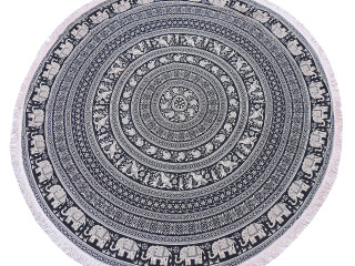 Black Ethnic Elephant Floral Tablecloth - Cotton Block Print Round Fringed Table Topper 70""