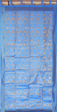 Blue Elephant Pair Brocade Curtain - Stylish Lined Indian Window Panel 92""
