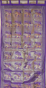 Purple Gold Elephant Brocade Curtain - Stylish Lined Indian Window Panel 92""
