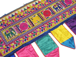 Vintage Kutch Embroidered Valance Traditional Mirror Work Toran Door Topper 44in