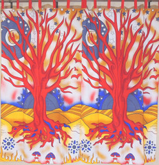 Red Tree of Life Curtains from India - 2 Elegant Cotton Print Window Panels 82""