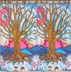 Blue Pink Tree of Life Curtains from India - 2 Elegant Cotton Print Window Panels 82""