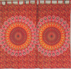 Red Peacock Fan Curtain Panels - 2 Cotton Print Window Treatments 80""