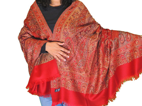 Maroon Paisley Cozy Jamawar Dress Shawl Kashmir Wool Scarf Large Afghan 80""
