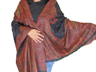 Black Burgundy Embroidered Shoulder Shawl - Kashmir Paisley Wool Scarf Afghan 80""