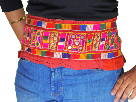 Ladies Belly Dance Belt Tribal Hand Embroidered Mirror Attire Trim Accessory