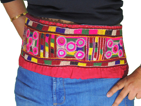 Beautiful Belly Dance Belt Tribal Fashion Hand Embroidered Mirror Trim Accessory