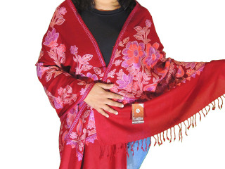 Burgundy Floral Designer Kashmir Shawl - Ladies Embroidered Wool Dress Scarf 78""