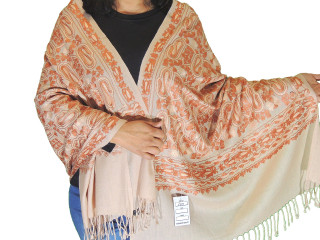 Beige Brown Floral Premium Kashmir Shawl - Ladies Embroidered Wool Dress Scarf 78""