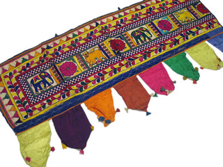 Vintage Handmade Decorative Toran Gujarat India Window Covering Valance Topper