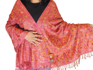 748ea65e3 Coral Pink Floral Premium Kashmir Shawl - Ladies Embroidered Wool Dress  Scarf 78
