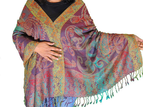 Trendy Paisley Wool Shawl Wrap - Warm Jamawar Ladies Dress Scarf 78""