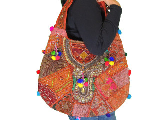 Brown Unique Women Shoulder Bag - Sari Beaded Embroidered Exclusive Handbag
