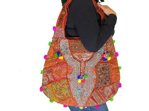 Brown Women Fashion Shoulder Bag - Sari Beaded Embroidered Exclusive Handbag