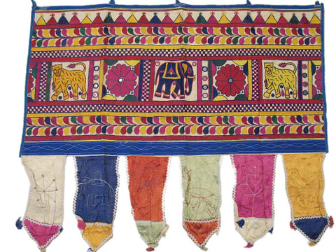 Antique Textile Embroidered Valance Window Door Topper Hanging Decorative Toran
