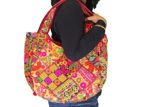 Boho Embroidered Casual Handbag - Multicolor Ladies Fashion Stylish Shoulder Bag