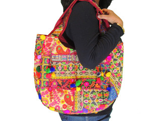 Ethnic Embroidered Ladies Top-Handle Handbag - Multicolor Fashion Shoulder Bag