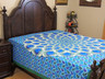 Blue Green Peacock Feather Tapestry Bed Sheet - Cotton Bedding Linens ~ Full