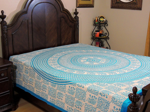 Turquoise Blue Mandala Elephant Tapestry Bed Sheet - Cotton Bedding Linens ~ Full