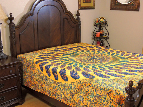 Yellow Blue Peacock Feather Tapestry Bed Sheet - Cotton Bedding Linens ~ Full