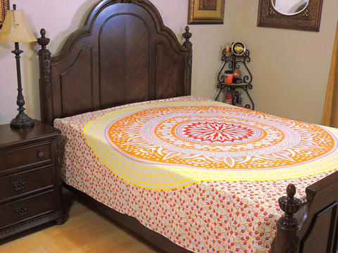 Orange Yellow Mandala Tapestry Bed Sheet - Cotton Bedding Linens ~ Full