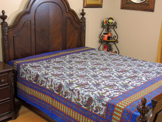 Gray Blue Stone Wash Paisley Tapestry Bed Sheet - Cotton Bedding Linens ~ Full