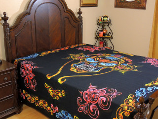 Black Tribal Skull Tapestry Bed Sheet - Cotton Bedding Linens ~ Full