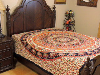Cream Orange Mandala Tapestry Bed Sheet - Cotton Elephant Bedding Linens ~ Full