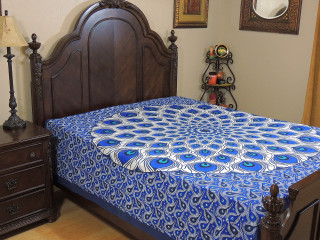Blue Turquoise Peacock Feather Tapestry Bed Sheet - Cotton Bedding Linens ~ Full