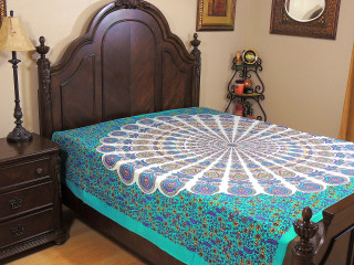 Seafoam Green Peacock Tail Fan Tapestry Bed Sheet - Floral Cotton Bedding Linens ~ Full