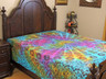 Multicolor Peacock Tail Fan Tapestry Bed Sheet - Floral Cotton Bedding Linens ~ Full