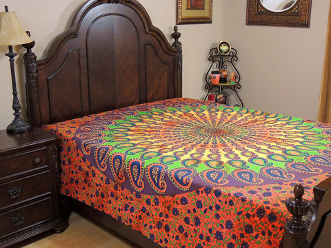Multicolor Mandala Paisley Tapestry Bed Sheet - Cotton Bedding Linens ~ Full