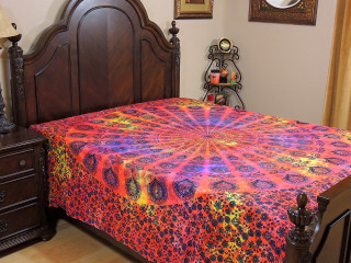 Red Yellow Peacock Tail Fan Tapestry Bed Sheet - Cotton Bedding Linens ~ Full