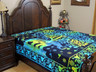 Blue Yellow Tree of Life Elephant Tapestry Bed Sheet - Cotton Bedding Linens ~ Full
