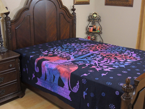 Purple Blue Tree of Life Elephant Tapestry Bed Sheet - Cotton Bedding Linens ~ Full