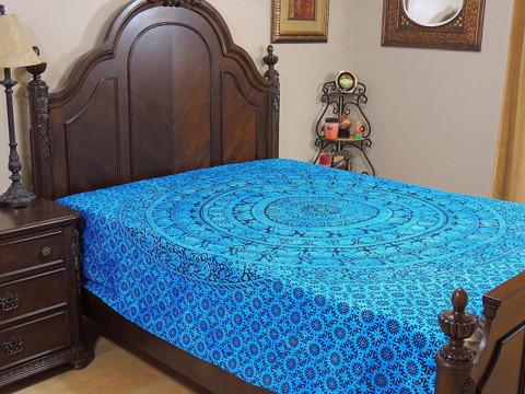 Blue Mandala Elephant Tapestry Bed Sheet - Cotton Bedding Linens ~ Full