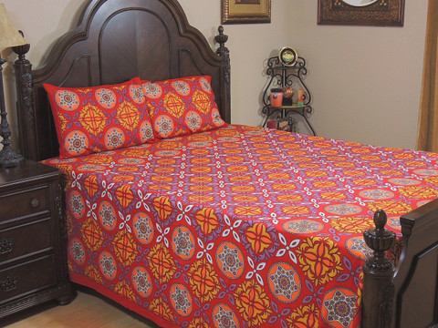 Red Geometric Floral Cotton Bedspread – Ethnic Luxury Bed Sheet Pillowcases ~ Queen