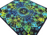 "Blue Yellow Green Aum Tapestry - Ethnic Indian Wall Hanging ~ XL 84"" x 80"""