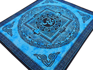 "Blue Mandala Aum Tapestry - Ethnic Indian Wall Hanging ~ XL 84"" x 80"""
