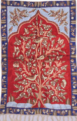 "Maroon and Red Tree of Life Chain Stitch Rug - Unique Kashmir Crewel Wall Tapestry 36"" x 24"""